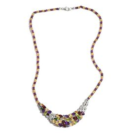 GP Citrine (Ovl), Hebei Peridot, Mozambique Garnet, Amethyst, Russian Diopside and Multi Gem Stone Necklace (Size 18) in Rhodium Plated Sterling Silver 65.05 Ct.