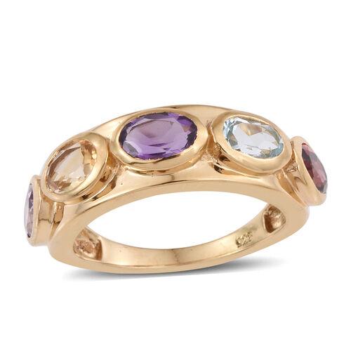 Amethyst (Ovl), Sky Blue Topaz, Rhodolite Garnet, Rose De France Amethyst and Citrine Ring in 14K Gold Overlay Sterling Silver 2.250 Ct.