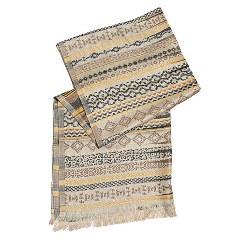 Beige, Brown & Multi Colour Abstract Pattern Scarf (Size 180X65 Cm)