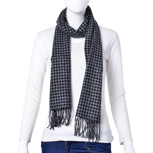 Close Out Deal-90% Wool Black and Grey Colour Houndstooth Pattern Scarf with Tassels (Size 180x30 Cm)