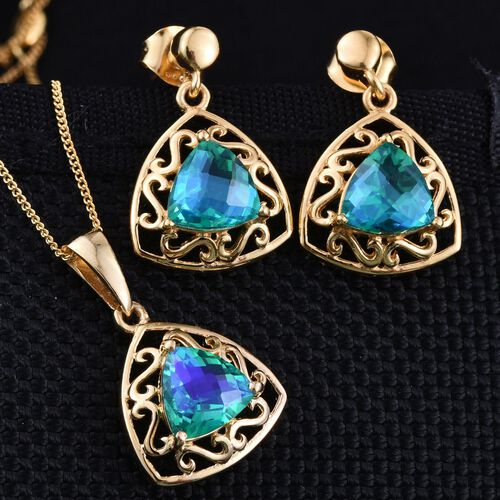 Peacock Quartz (Trl) Solitaire Pendant with Chain and Earrings (with Push Back) in 14K Gold Overlay Sterling Silver 5.000 Ct.