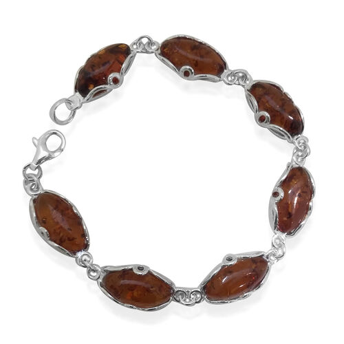 Tucson Collection Baltic Amber Bracelet (Size 7.25) in Sterling Silver 20.000 Ct.