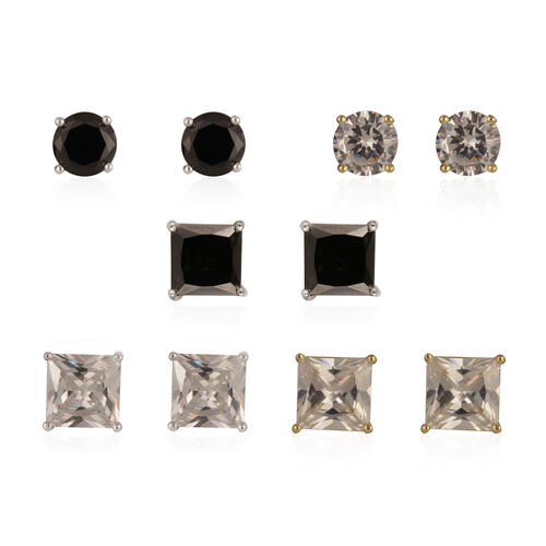 Set of 5 - JCK Vegas Collection AAA Simulated Black Spinel and Simulated Diamond Earrings (with Push Back) in Gold and Silver Bond