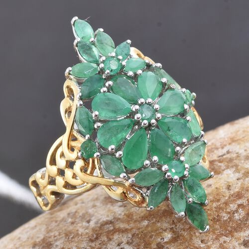 Kagem Zambian Emerald (Pear) Ring in Platinum and Yellow Gold Overlay Sterling Silver 2.750 Ct.