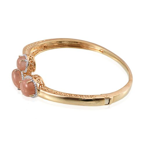 Morogoro Peach Sunstone (Ovl 4.75 Ct), Diamond Bangle (Size 7.5) in 14K Gold Overlay Sterling Silver 10.020 Ct.
