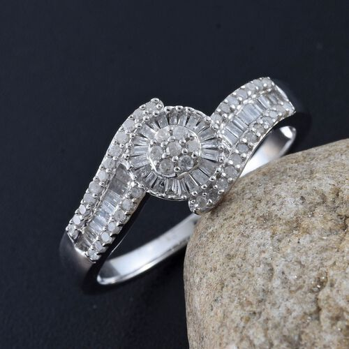 Designer Inspired- Diamond (Rnd) Floral Bypass Ring in Platinum Overlay Sterling Silver 0.50 Ct.