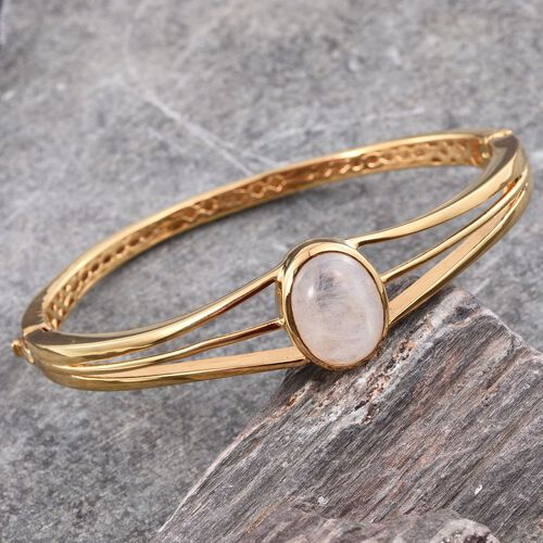 Natural Rainbow Moonstone (Ovl) Bangle (Size 7.5) in ION Plated 18K Yellow Gold Bond 10.000 Ct.