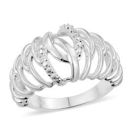 Diamond (Rnd) Ring in Sterling Silver, Silver wt 4.12 Gms.