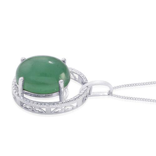 Emerald Quartz (Ovl 11.75 Ct), Diamond Pendant With Chain in Platinum Overlay Sterling Silver 11.760 Ct.
