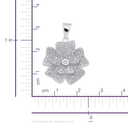 ELANZA AAA Simulated Diamond (Rnd) Floral Pendant in Rhodium Plated Sterling Silver