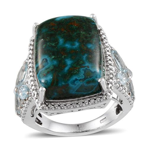 Table Mountain Shadowkite (Cush 18.50 Ct), Sky Blue Topaz Ring in Platinum Overlay Sterling Silver 20.600 Ct.