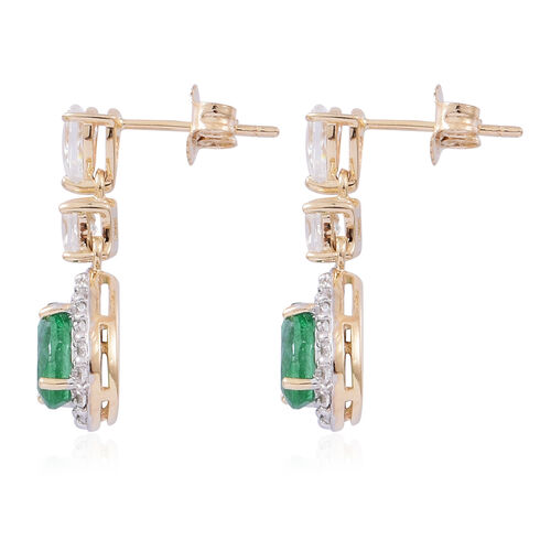 Collectors Edition- 9K Yellow Gold AA Kagem Zambian Emerald (Pear), Natural White Cambodian Zircon Dangling Earrings (with Push Back) 2.250 Ct.