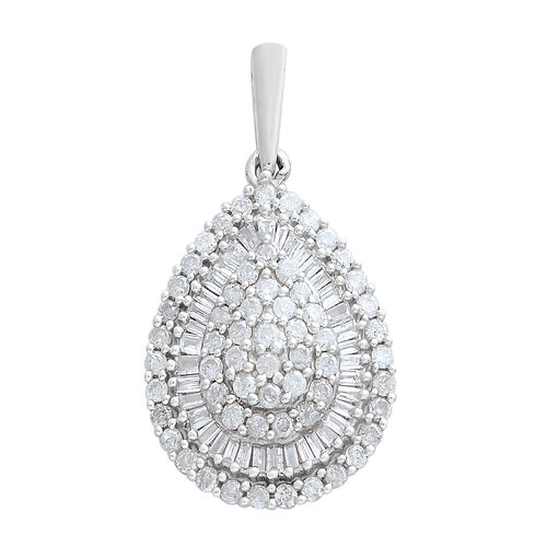 1 Carat Diamond SGL Certified (I3/G-H) Cluster Pendant in 9K White Gold