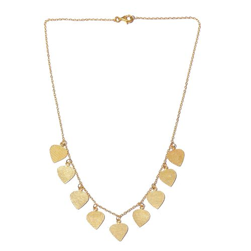 Italian Designer Inspired-Yellow Gold Overlay Sterling Silver Dangling Hearts Necklace (Size 18)