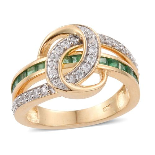 Kagem Zambian Emerald (Sqr), Natural Cambodian Zircon Ring in 14K Gold Overlay Sterling Silver 1.250 Ct.