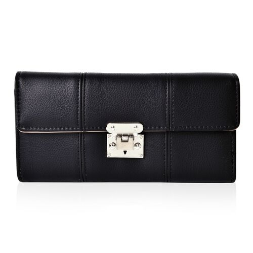 Kingston Dazzling Black Colour Long Wallet (Size 19.5x9x2.5 Cm)