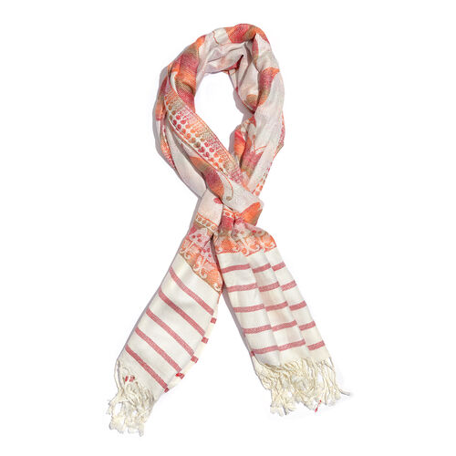 Multi Colour Butterfly Pattern White, Red and Orange Colour Jacquard Scarf with Fringes (Size 200x70 Cm)