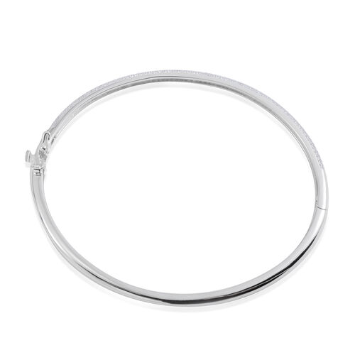 JCK Vegas Collection ELANZA AAA Simulated Diamond (Rnd) Bangle (Size 7.5) in Rhodium Plated Sterling Silver