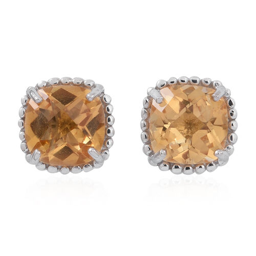 Citrine (Cush) Stud Earrings (with Push Back) in Rhodium Plated Sterling Silver 5.000 Ct.