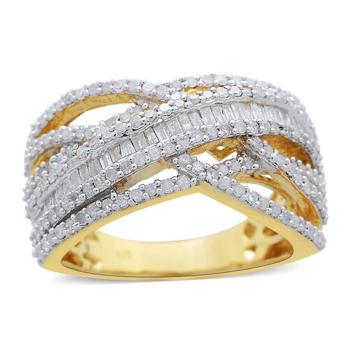 Diamond (Bgt) Criss Cross Ring in 14K Gold Overlay Sterling Silver 1.000 Ct.