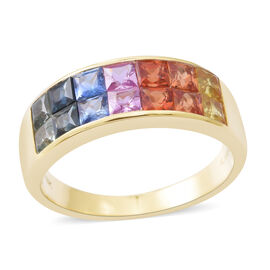 ILIANA 18K Yellow Gold AAAA Rainbow Sapphire (Sqr) Ring 2.550 Ct. Gold wt 4.90 Gms