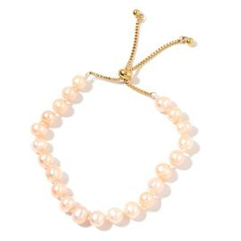 Fresh Water Peach Pearl (7-8mm) Adjustable Beads Bracelet (Size 6 to 8.5 Inch)