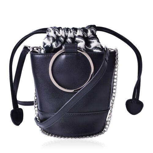 Black Colour Tote Bag With Removable Shoulder Strap (Size 18x15.5x12.5 Cm)