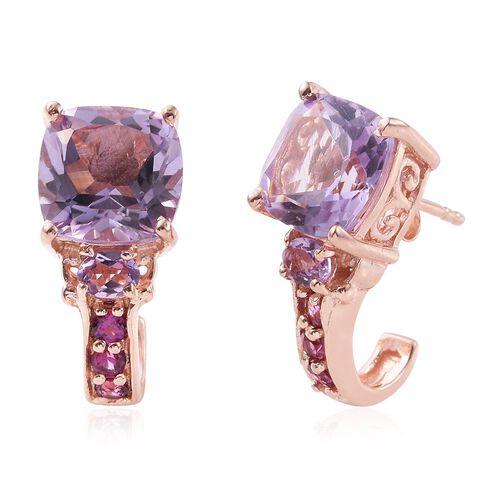 Rose De France Amethyst (Cush), Rhodolite Garnet J Hoop Earrings (with Push Back) in Rose Gold Overlay Sterling Silver 6.750 Ct.
