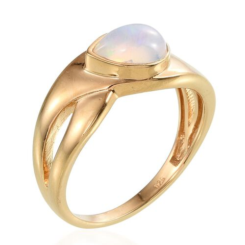 AA Ethiopian Welo Opal (Pear) Solitaire Ring in 14K Gold Overlay Sterling Silver 0.750 Ct.