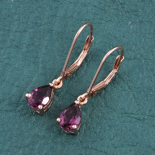 Rare Mozamique Grape Colour Garnet (Pear) Lever Back Earrings in Rose Gold Overlay Sterling Silver 2.000 Ct.