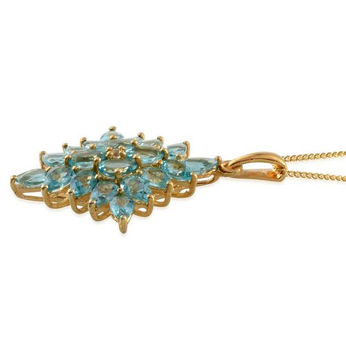 Paraibe Apatite (Ovl), White Topaz Cluster Pendant With Chain in 14K Gold Overlay Sterling Silver 4.270 Ct.
