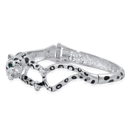 White and Green Austrian Crystal Enameled Leopard Bangle (Size 7.5) in Silver Tone
