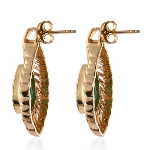 Peacock Quartz (Pear) Feather Earrings (with Push Back) in 14K Gold Overlay Sterling Silver 6.250 Ct.