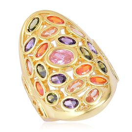 Designer Inspired-AAA Simulated Multi Sapphire Ring Yellow Gold Plated