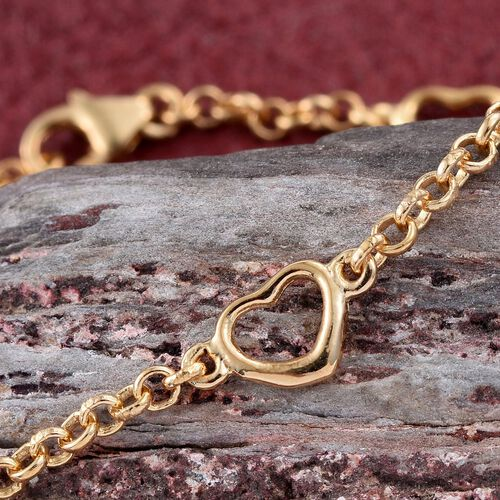 Open Heart Station Chain Bracelet in Gold Overlay Silver (Size 7.5), Silver wt. 3.17 Gms.