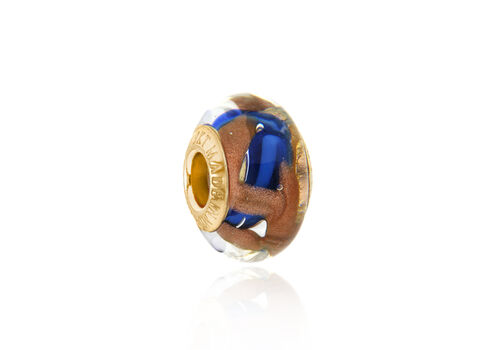 Close Out Deal 9K Y Gold Blue and Copper Colour Murano Glass Bead Charm