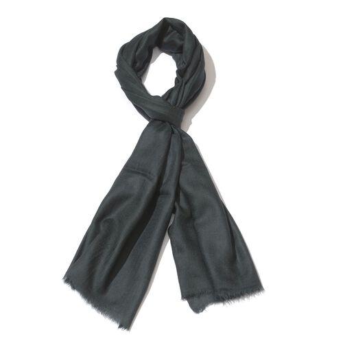 100% Fine Cashmere Wool - Hand Loomed Black Shawl (Size 200 x 70 Cm)