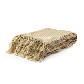 100% Cotton Beige and Natural Colour Handloom Bedcover with Fringes (Size 270x220 Cm)