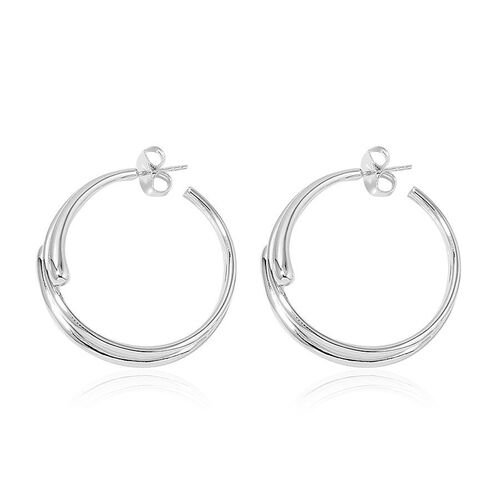 LucyQ Earrings (with Push Back) in Rhodium Plated Sterling Silver 21.06 Gms.