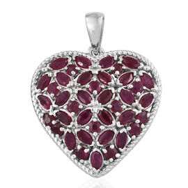 African Ruby (Rnd and Mrq) Heart Pendant in Platinum Overlay Sterling Silver 4.500 Ct, Silver wt 5.84 Gms.