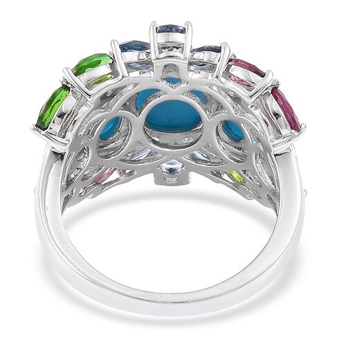 Arizona Sleeping Beauty Turquoise (Ovl 1.25 Ct), London Blue Topaz, Rhodolite Garnet, Russian Diopside and White Zircon Ring in Platinum Overlay Sterling Silver 4.040 Ct.