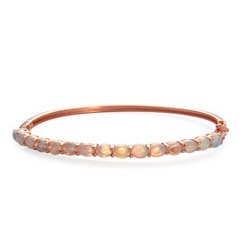 Ethiopian Welo Opal (Ovl) Bangle (Size 7.5) in Rose Gold Overlay Sterling Silver (Size 7.5) 3.000 Ct.