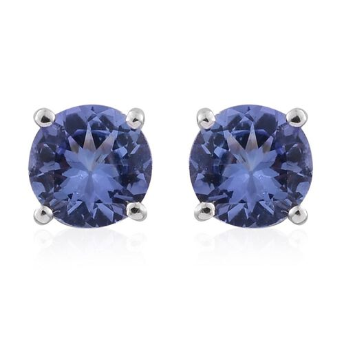 9K White Gold 1 Carat AA Tanzanite Solitaire Stud Earrings