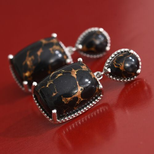 Arizona Mojave Black Turquoise (Cush) Earrings (with Push Back) in Platinum Overlay Sterling Silver 24.000 Ct.