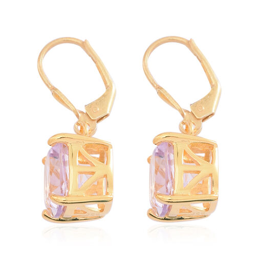 AAA Rose De France Amethyst (Cush) Lever Back Earrings in 14K Gold Overlay Sterling Silver 8.000 Ct.