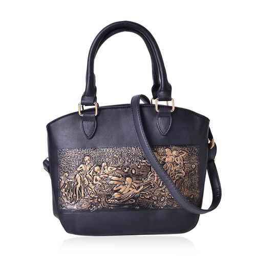 Golden Oil Painting Pattern Embossed Tote Bag with Adjustable and Removable Shoulder Strap (Size 31X25X23.5X15 Cm)