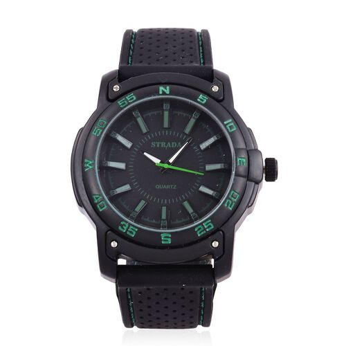 STRADA Japanese Movement Black Colour with Green Marks Dial Water Resistant Watch in Black Tone with Stainless Steel Back and Black Colour Rubber Strap