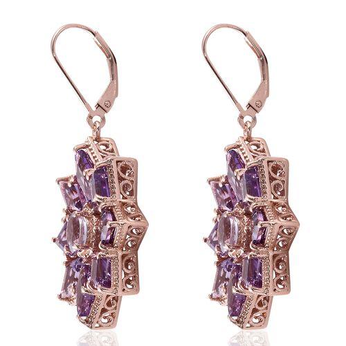 Rose De France Amethyst (KITE) Floral Lever Back Earrings in Rose Gold Overlay Sterling Silver 12.750 Ct. Silver wt. 10.67 Gms.