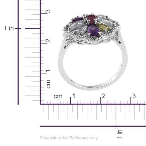 Hebei Peridot (Ovl), Amethyst, Espirito Santo Aquamarine, Rhodolite Garnet and Sky Blue Topaz Ring in Platinum Overlay Sterling Silver 2.470 Ct.