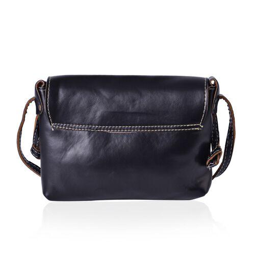 Black Colour Crossbody Bag with Shoulder Strap (Size 22x18.5x4 Cm)